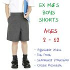 EX M&S Boys School Shorts Age 2 3 4 5 6 7 8 9 10 11 12 Grey Adjustable Waist