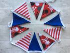 Double-sided Cotton Bunting Handmade Seaside Pirate Party Blue Red Stripe