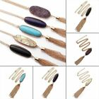 New Women's Fashion 2'' Oval Abalone Druzy Stone Tassel Pendent Necklace Long