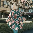 Women Casual 3/4 Sleeve Print Cardigan Loose Beach Cover Up TXST