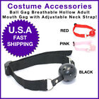 Hollow Ball Gag Adult Mouth Soft  with Adjustable Neck Straps Slave