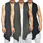 Men Sleeveless Waterfall Tank Vest Tops Waistcoats Longline T Shirts Coat Jacket