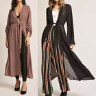 UK 8-24 Women Waterfall Bell Sleeve Open Front Long Cardigan Coat Jacket Plus
