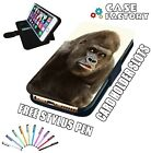 Happy Smiling Black Gorilla - LEATHER FLIP WALLET PHONE CASE COVER + STYLUS