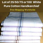 Lot of 25/50/75or 100 Men's White Handkerchiefs Business Hankies Cotton 45x45 CM
