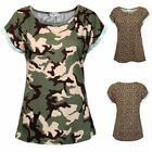 New Womens Leopard Camouflage Ladies Cotton Summer Short Sleeved Top T Shirt