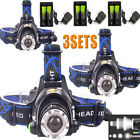 20000LM Zoomable Headlamp T6 LED Headlight Flashlight+Charger+18650 Battery_