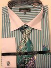 Mens Sophisticated 2-Tone Teal White Striped French CuffDress Shirt Avanti DN51M