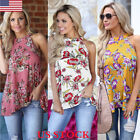 US  Summer Womens Floral Tops Blouse Ladies Sleeveless T-Shirt Summer Backless