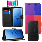 Leather Flip Wallet Case Magnetic Cover For Samsung Galaxy S9 + Screen + Stylus