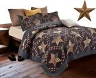 Black Brown Western Americana Primitive Country Farmhouse Cabin FQK Quilt +STAR image