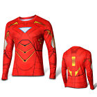 Men T-Shirt  Long Sleeve Compression Tops Superhero Avengers Marvel Fitness Tee