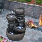 Indoor Outdoor Polyresin Water Fountain Feature LED Lights Garden Statues Decor