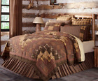 PRESCOTT QUILT SET-choose size & accessories-Rustic Plaid Brown Lodge VHC Brands image