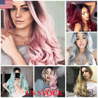 how to do ombre on red hair - US Ombre Wine Red Pink Gray Flaxen Wig Long Hair Curly Cosplay Wig Wavy Colorful