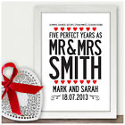 Personalised 5th Fifth Wedding Anniversary Gifts 5 Years As Mr & Mrs Presents