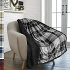 Plaid Throw Blanket for Couch Sofa Bed Sherpa Fleece Soft Microfiber Reversible image