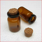 10pcs 0.6ml/1ml Vials Brown Glass Bottles with Corks Empty Jars Small