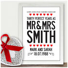 30th Wedding Anniversary Personalised Gifts 30 Years As Mr & Mrs Gifts for Him
