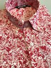 Red Paisley Shirt Long Sleeve Relco Button Down Retro Slim Fit Mod 60s S - 3XL