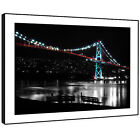 SC470 Blue Red Black White Bridge Landscape Framed Wall Art Large Picture Prints