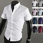 New Mens Dandy Solid Short Sleeve Business Casual Dress Shirts Formal Tops XS-XL