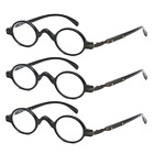3 PACK Vintage Small Round Reading Glasses 1.0 1.5 2.0 2.5 3.0 3.5 Retro Readers