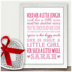 Personalised Hold Her A Little Longer Nursery Wall Art Decor Gifts for Baby Girl