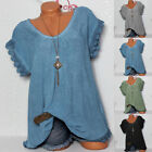 blue shirts for women - Plus Size Women Lace Crochet Floral Bell Sleeve Loose Blouse Tunic Tops Shirts