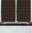 """African Kitchen Curtains 2 Panel Home Window Drapes 55"""" X 39"""" Ambesonne"""