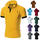 Fawn Mens Slim Fit POLO Shirts Solid Short Sleeve Casual Golf T-shirt Tee Tops
