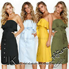 UK Womens Summer Off Shoulder Button Through Ladies Long Midi Sundress Size 6-14
