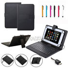 "For 10.1"" 10 inch Tablet Black/Printed PU Leather Micro USB Keyboard Case Cover"