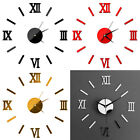 3D Mirror Surface Large Number Wall Clock Stickers Modern Home Office Decor US