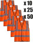 BULK MULTI BUY Orange Hi Vis Viz Vest High Visibility Safety X5 X10 X25 X50 X100