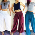 Womens Solid Soft Yoga Lounge Sport Wide Leg Casual Loose Long Pants Trouser NEW
