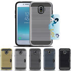 For Samsung Galaxy Grand Prime Pro Hybrid Brushed Armor Rubber Card Case Cover