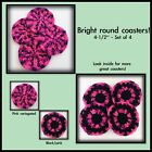 4 Crochet coasters hand made retro look pink black mug rug mat table protector