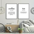 Set of 2 Tea & Coffee Funny Meaning Black Kitchen Poster Prints Wall Art Decor