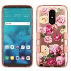 LG Stylo 4 Lace Flowers Impact TUFF HYBRID Armor Rubber Rugged TPU 2D Case Cover