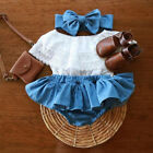 US Newborn Baby Girl Outfit Lace Ruffled Top+Demin Shorts Dress+Headband Clothes