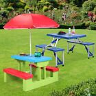4 Seat Kids Portable Picnic Table Garden Yard Children Outdoor Folding/Umbrella