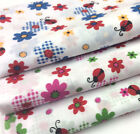 Printed Polyester Cotton Fabric - Floral Daisy and Ladybirds