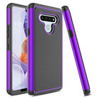 For LG Stylo 4 Shockproof Hybrid Hard Armor Phone Case + Glass Screen Protector