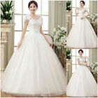 UK White ivory Princess Marriage Wedding Dress Bridal Ball Gowns Plus Size 6-22