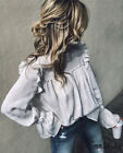 Womens Long Sleeve Blouse Pullover Jumper Crop Tops Casual L