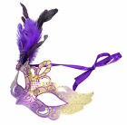 Halloween Venetian Lace Feathers Half Mask Masquerade Fancy Dress Party Eye Mask