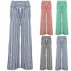 Womens Ladies Stripes Palazzo Wide Leg High Waisted Flared Trouser Stretch Pants