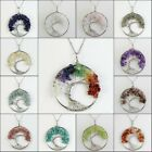 Natural Gemstones Chips Beads Tree Of Life Reiki Chakra Silver Pendant Necklace