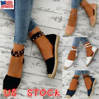Hot US Women Ladies Flat Lace Up Espadrilles Summer Chunky H